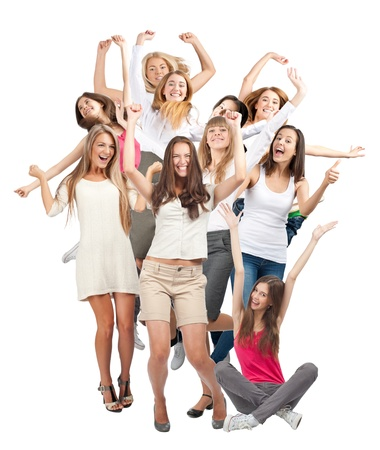 Group of happy young women with raised arms laughing. Isolated on white background Stock Photo