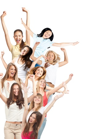 enthusiastic: Group of happy young women with raised arms laughing. Isolated on white background Stock Photo
