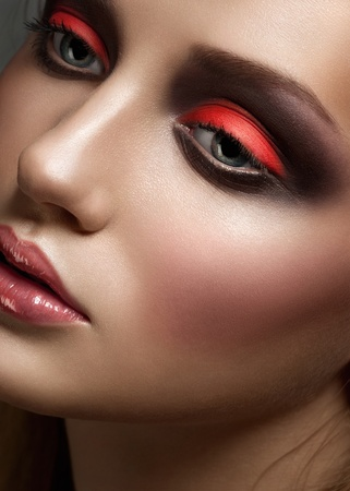 Closeup portrait of young beautiful woman with bright fashion makeup Stock Photo - 12797056