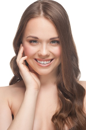 Portrait of pretty young woman with beautiful fresh make-up and perfect healthy skin