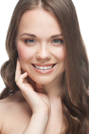 Close-up portrait of pretty young woman with beautiful fresh make-up and perfect healthy skin  Stock Photo - 12797389