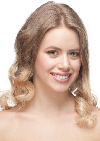 Portrait of pretty young woman with beautiful fresh make-up and perfect healthy skin Stock Photo - 12796688