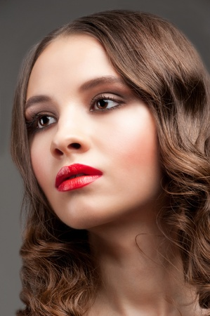 Portrait of young beautiful woman with stylish makeup and hairstyle Stock Photo - 12797424