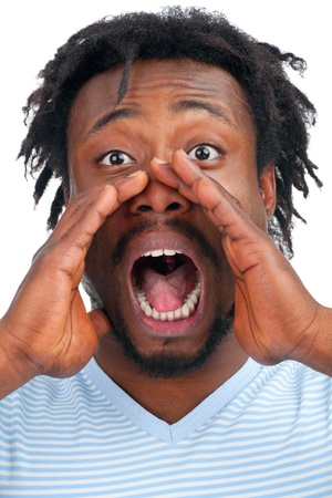 Closeup portrait of a young african american man screaming out loud, isolated on a white background Stock Photo - 12796718