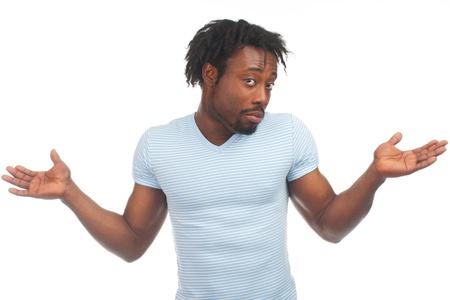 혼란스러운: 몸짓으로 젊은 남자의 초상화 혼란 식 기호를 알 수 없습니다. 흰색 배경에 고립