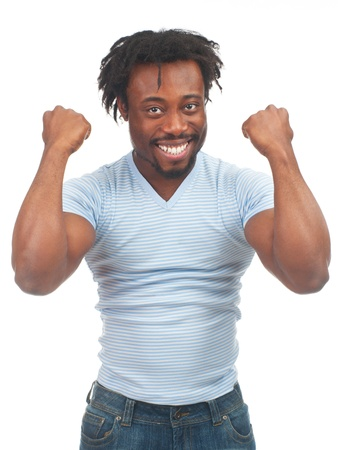 agape: Portrait of expressive african american man celebrating success, isolated on white background