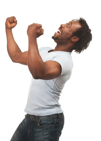 excited people: Portrait of expressive african american man celebrating success, isolated on white background