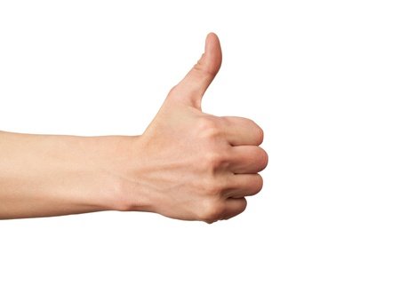 arms up: Closeup of male hand showing thumbs up sign against white background Stock Photo