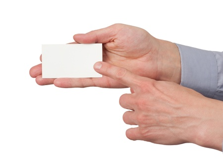 Closeup image of paper business card in male hand, isolated on white background Stock Photo - 12794770