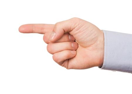 dedo apuntando: Primer plano de mano masculina, dirección gesto hacia la izquierda. Aislado sobre fondo blanco