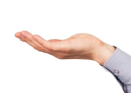 manos abiertas: Gesto de abierta palma de la mano de hombres hand.Isolated sobre fondo blanco. Foto de archivo