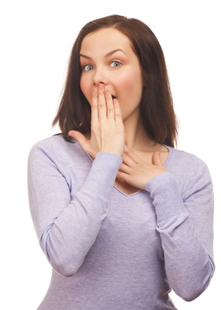 suddenness: Portrait of surprised young beautiful woman covering her mouth by the hand. Isolated on white background.