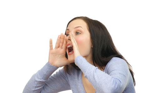 femme bouche ouverte: Portrait d'une jeune femme belle crier à haute voix, isolé sur un fond blanc Banque d'images
