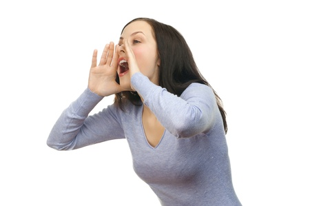 shouting: Portrait of a young lovely woman screaming out loud, isolated on a white background