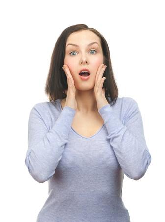 astonishment: Retrato de mujer hermosa sorprendido tocando la cara de asombro. Aislado sobre fondo blanco.