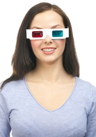 Close-up portrait of happy caucasian woman watching a 3D movie with 3D glasses photo