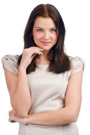 business dilemma: Portrait of lovely young pensive woman touching her chin, against white background