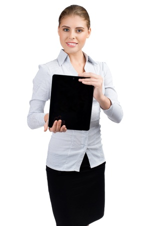 Confident young  business woman showing empty display of electronic tablet  photo
