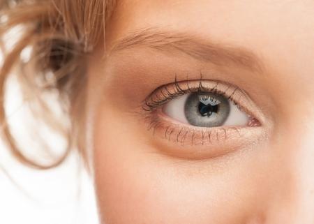 Close-up shot of woman eye with beautiful makeup looking at camera photo