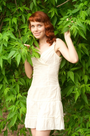 nude outdoors: Happy beautiful young woman in park enjoying the summer