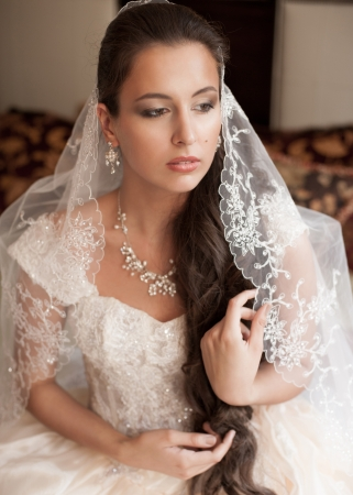 Beautiful bride in elegant wedding dress and lace veil photo