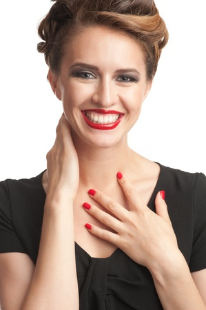 Portrait of happy beautiful woman with vintage make-up and hairstyle photo