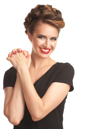 Portrait of happy lovely woman with vintage make-up and hairstyle. Woman with red lipstick. photo