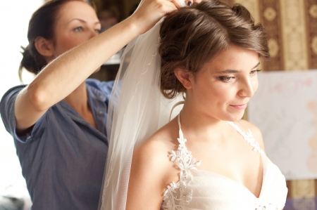Beautiful caucasian bride getting ready for the wedding ceremony Stock Photo - 15878064