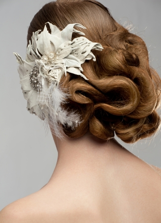 Portrait of attractive young woman with beautiful hairstyle and stylish hair decoration. Bride with gorgeous hairdo Stock Photo - 16802952