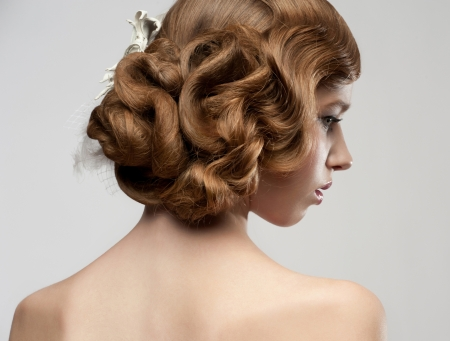 Portrait of attractive young woman with beautiful hairstyle. Bride with gorgeous hairdo Stock Photo - 16802879