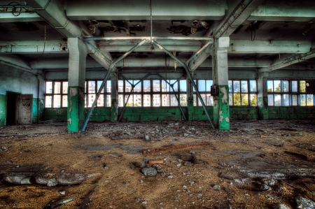 Old abandoned factory, indoors  photo