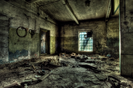 hdr: Old abandoned factory, indoors  Stock Photo