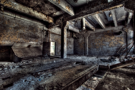 Old abandoned factory, indoors view photo