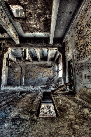 industrial ruins: Old abandoned factory, indoors. Hdr image
