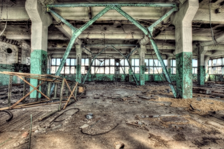 Old abandoned factory, indoors. Hdr image photo