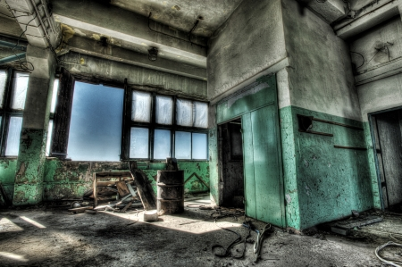 abandoned city: Old abandoned factory, room with window. Hdr image