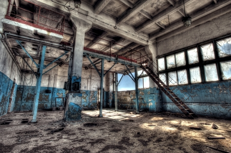 factory floor: Old abandoned factory, indoors. Hdr image