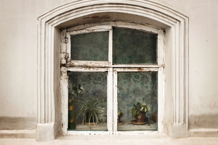 Old window on white wall  photo