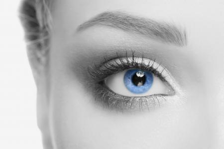 blue eyes girl: Macro image of beautiful woman blue eye, monochrome Stock Photo