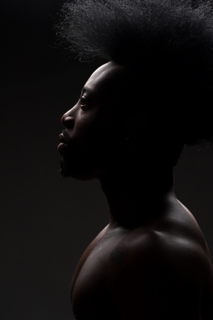 manful: Portrait of handsome young african american man with stylish hairstyle and with a muscular  torso Stock Photo