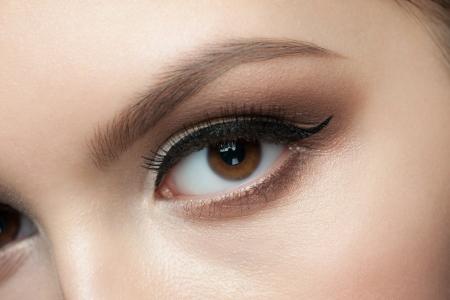 Closeup of beautiful woman eye with makeup  photo