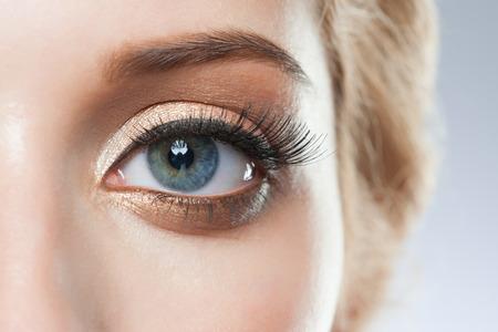 eyelid: Closeup of woman eye with beautiful makeup with brown eyeshadows Stock Photo