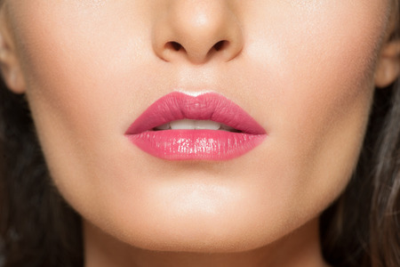 open lips: Closeup of beautiful lips with pink lipstick