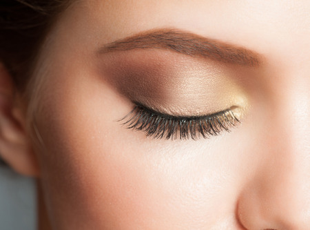 eye  closed: Closeup of woman eye with beautiful makeup