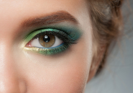 eyeshadow: Closeup of woman eye with beautiful colorful makeup  Stock Photo