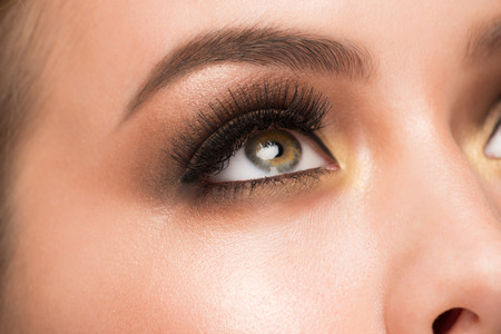 charming woman: Closeup image of beautiful woman eye with fashion bright makeup Stock Photo