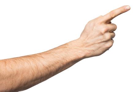 男性の手を指すのクローズ アップ。白い背景で隔離 写真素材