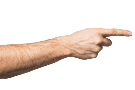 finger pointing: Closeup of male hand pointing. Isolated on white background