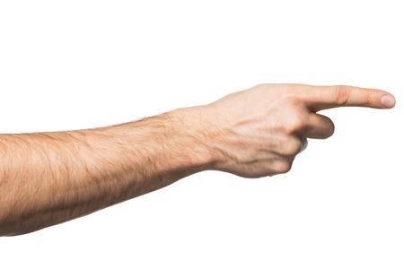 dedo �ndice: Primer de la mano apuntando masculino. Aislado en el fondo blanco Foto de archivo