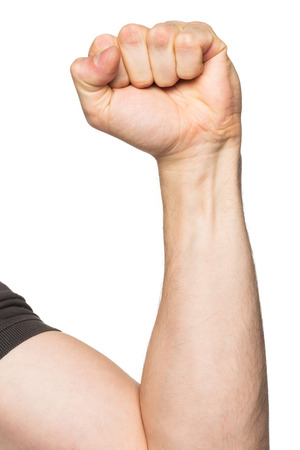 human fist: Hand with clenched a fist, isolated on a white background